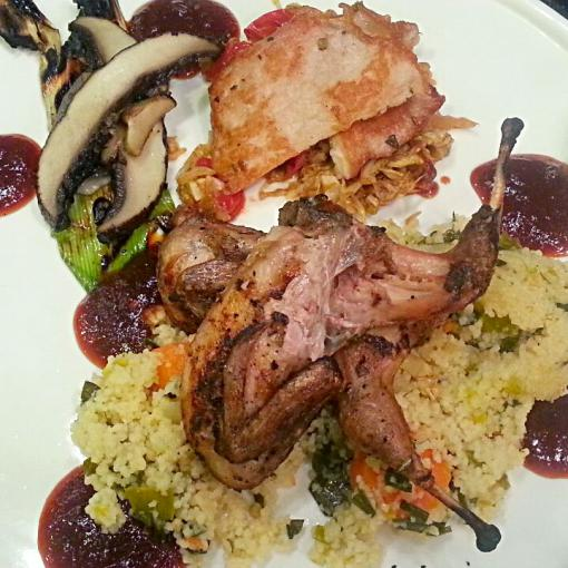 Grilled Texas Quail with Seared Pork Loin, Chipotle Barbeque Sauce and Leeks and Cous Cous