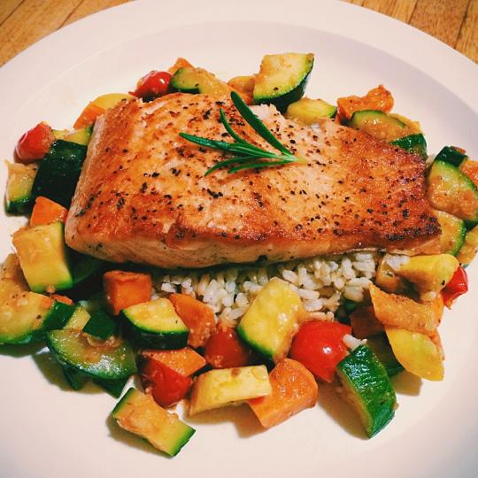 Salmon, squash, sweet potato, brown rice, with browned butter and ...