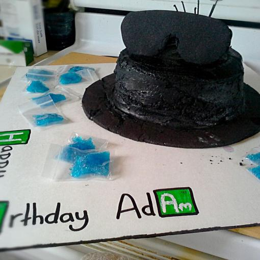 """Heisenberg"" Chocolate cake with Oreo butter cream and peppermint candy"