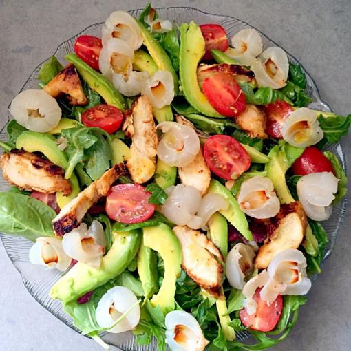 Avocado, tomato & lychee salad with grilled chicken breast