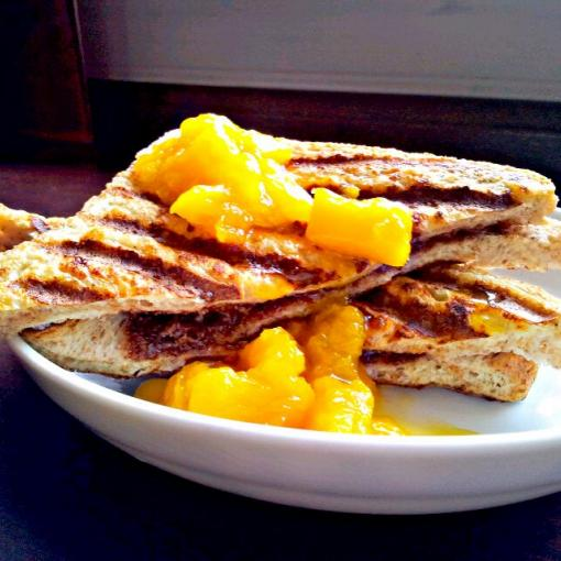 Nutella French toast topped with mango sauce