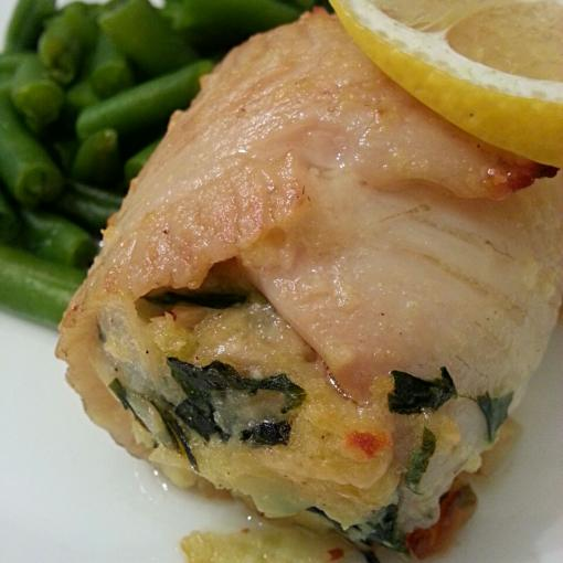 Spinach & Gruyere Stuffed Tilapia with Green Beans