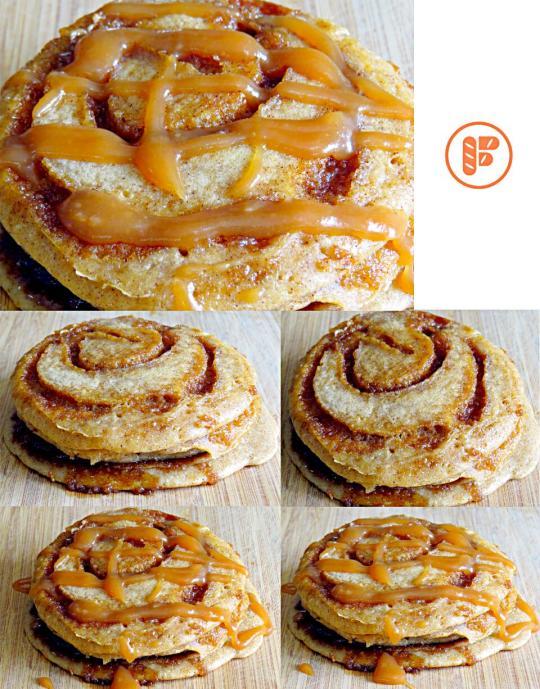 Cinnamon Roll Pancrepes® with Vanilla Bourbon Caramel Sauce #Pancake ...