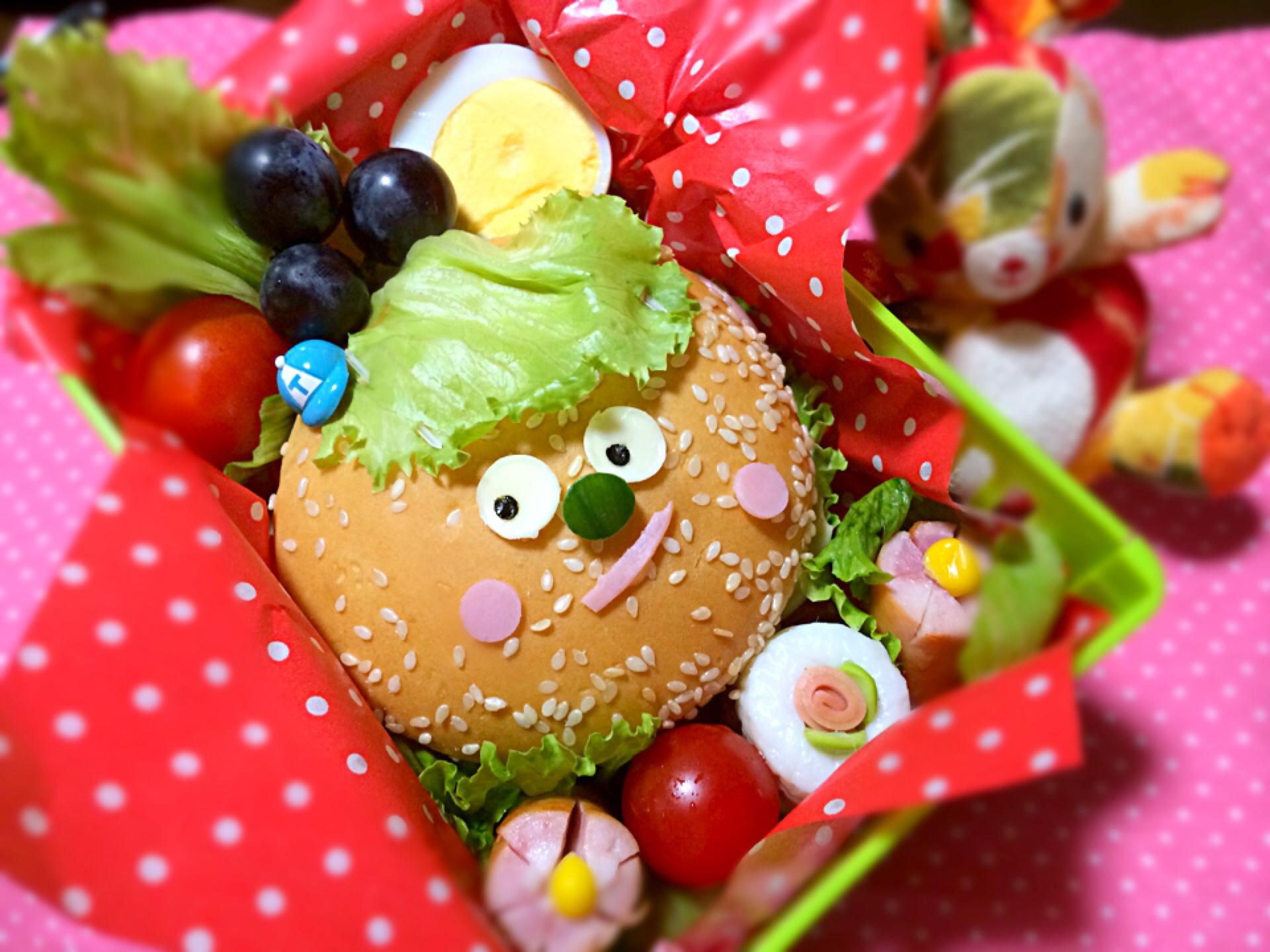 お月見サンド!月見バーガーでは、ありません(^◇^;)ゆで卵が、お月さん꒰*´艸`*꒱