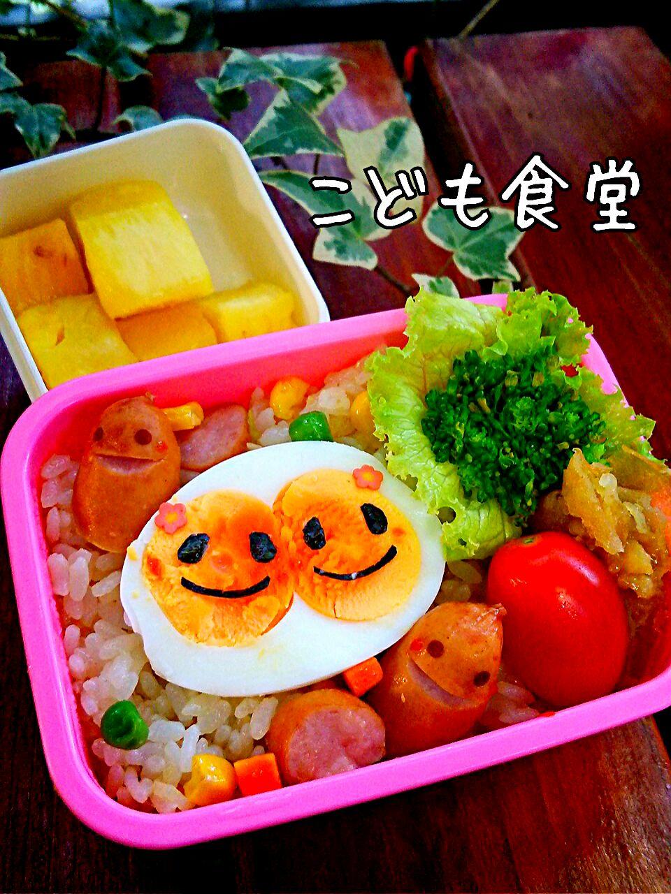 双子ゆで玉子&マヨ炒め飯弁当