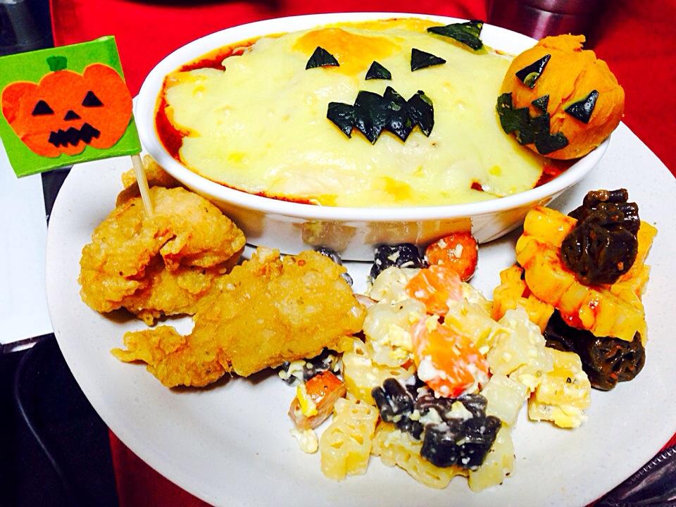 かぼちゃのミートグラタンとハロウィンパスタ