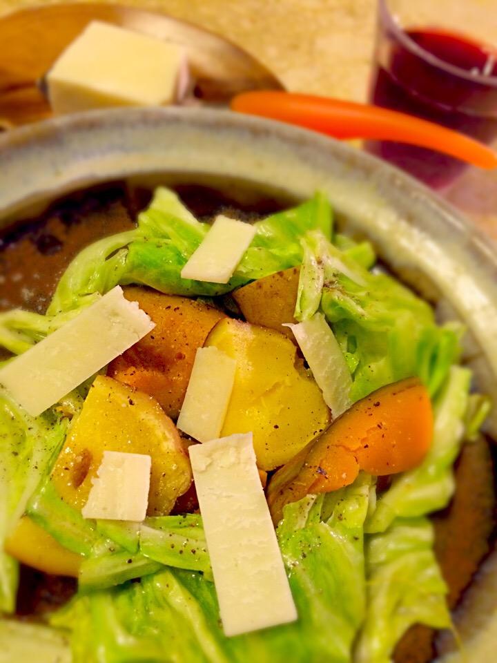 ペコリノ ロマーノと蒸し野菜