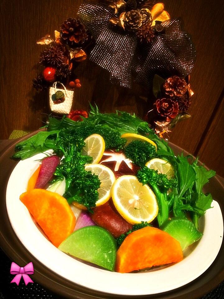 鎌倉野菜で蒸ししゃぶ…お肉どこーーー???あるよ    友情出演: さかぽんリース