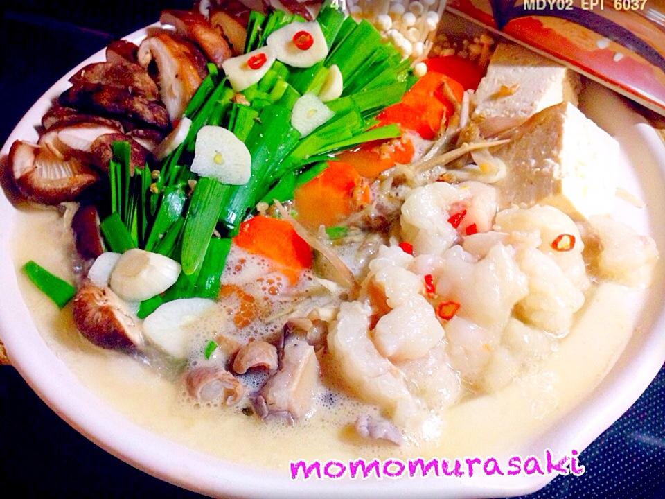 ももさんの料理 簡単美味 モツ鍋〆はラーメンね〜♡レシピつけました(^_−)−☆