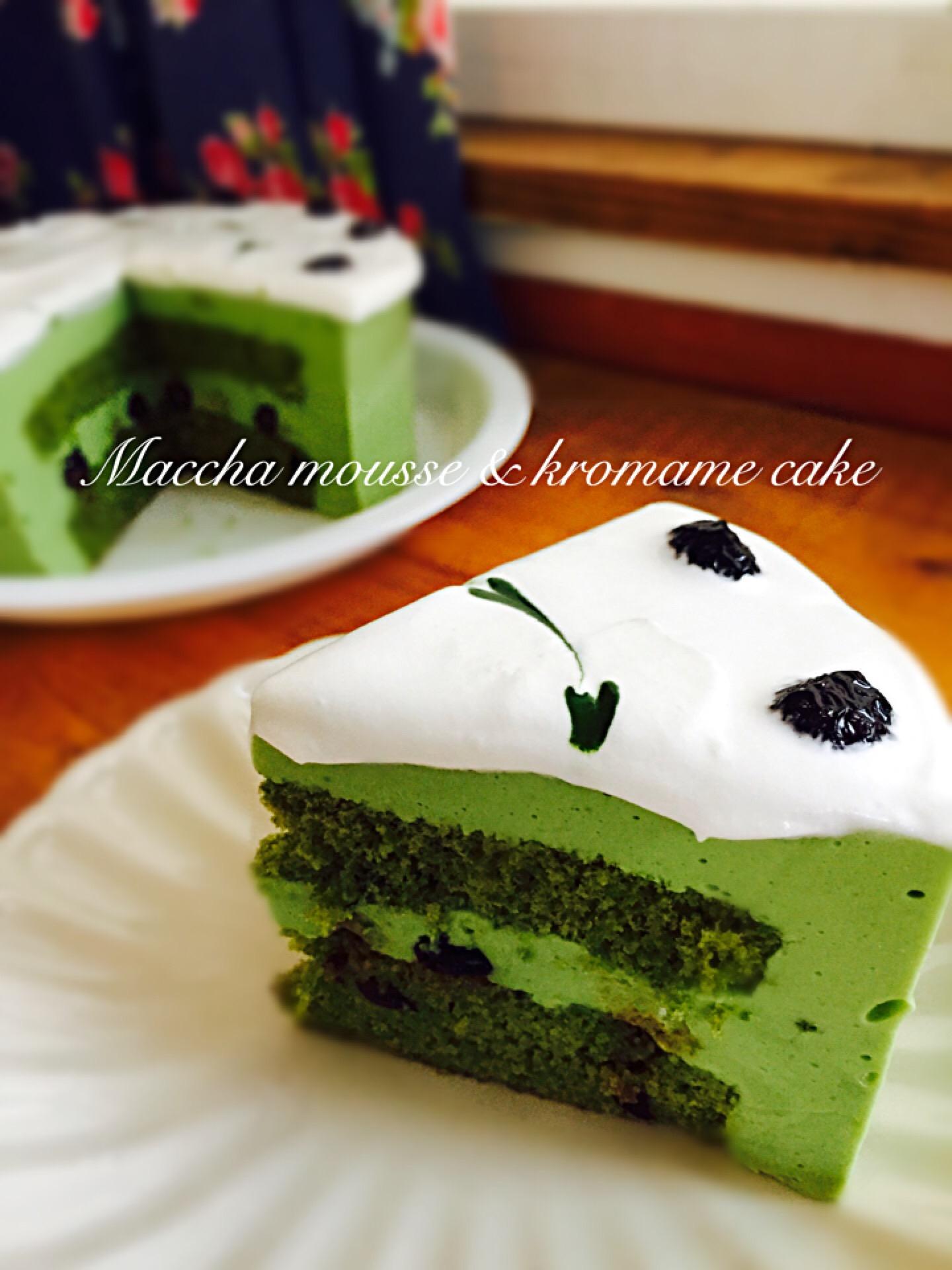 抹茶ムースと黒豆甘納豆のケーキ