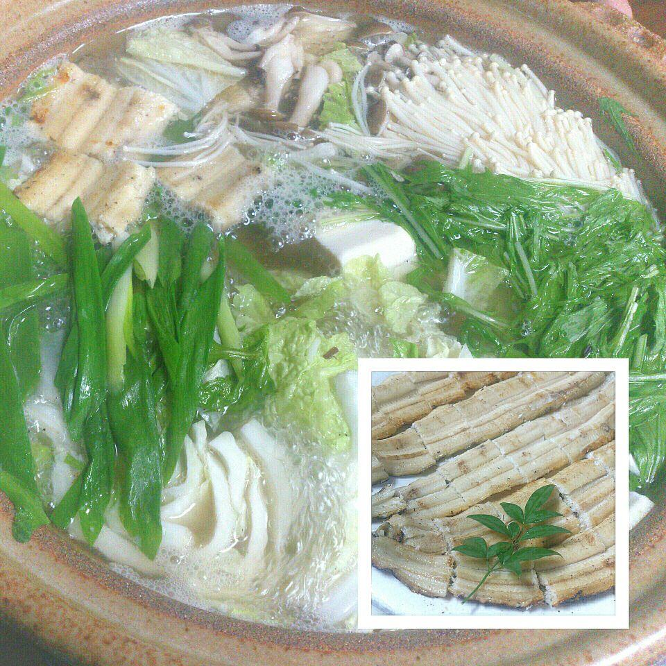 穴子の白焼きでうどんすき鍋