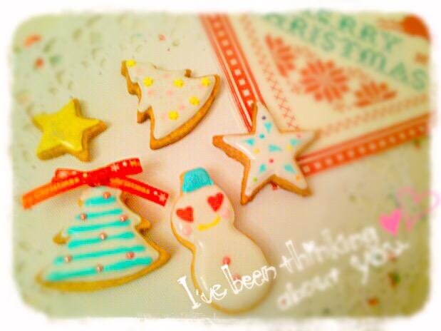 スノーマンとクリスマスツリーのアイシングクッキー☆