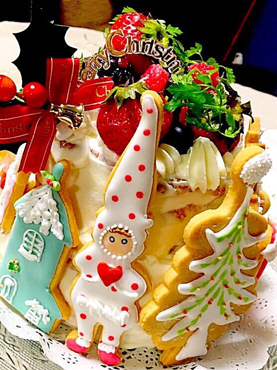 アイシングクッキーXmasケーキ
