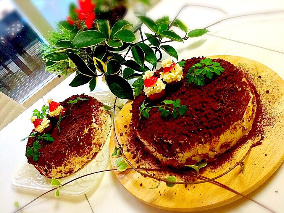 サンタさんのしっとりチョコ掛けスポンジケーキ