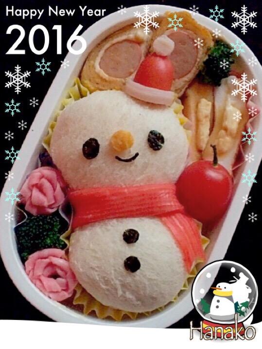 まんまる雪だるまサンド弁当。