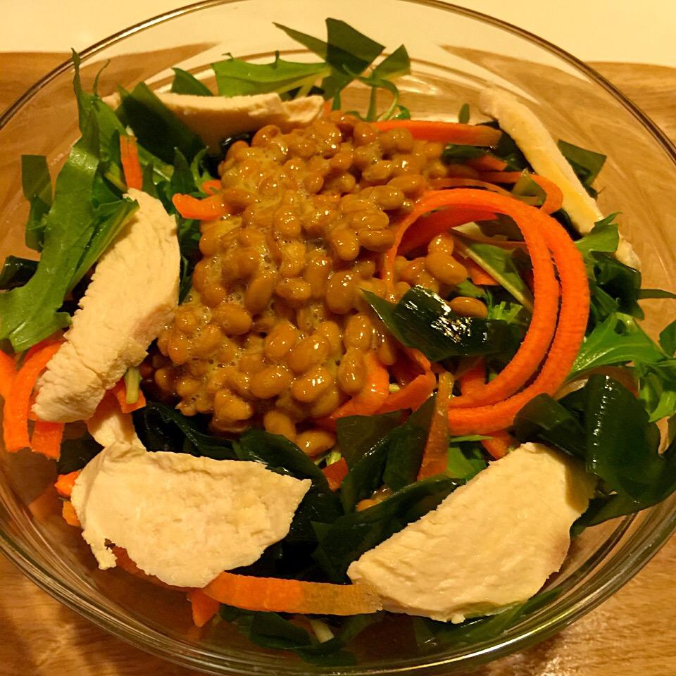 欲張り納豆サラダ(◍•ڡ•◍)❤