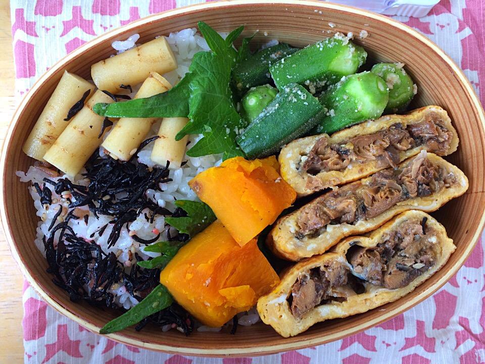 【わっぱ弁当】鰻巻き♡大好きな山牛蒡とオクラの胡麻和えと南瓜の煮付けも添えて♪