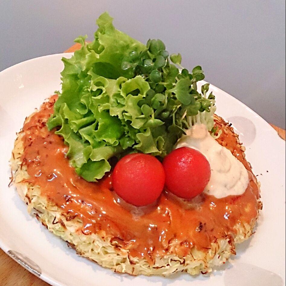 極細千切りキャベツde嵩高&エアリ~♪でもモチッカリッな天ぷら粉のお好み焼き*サラダ仕立て