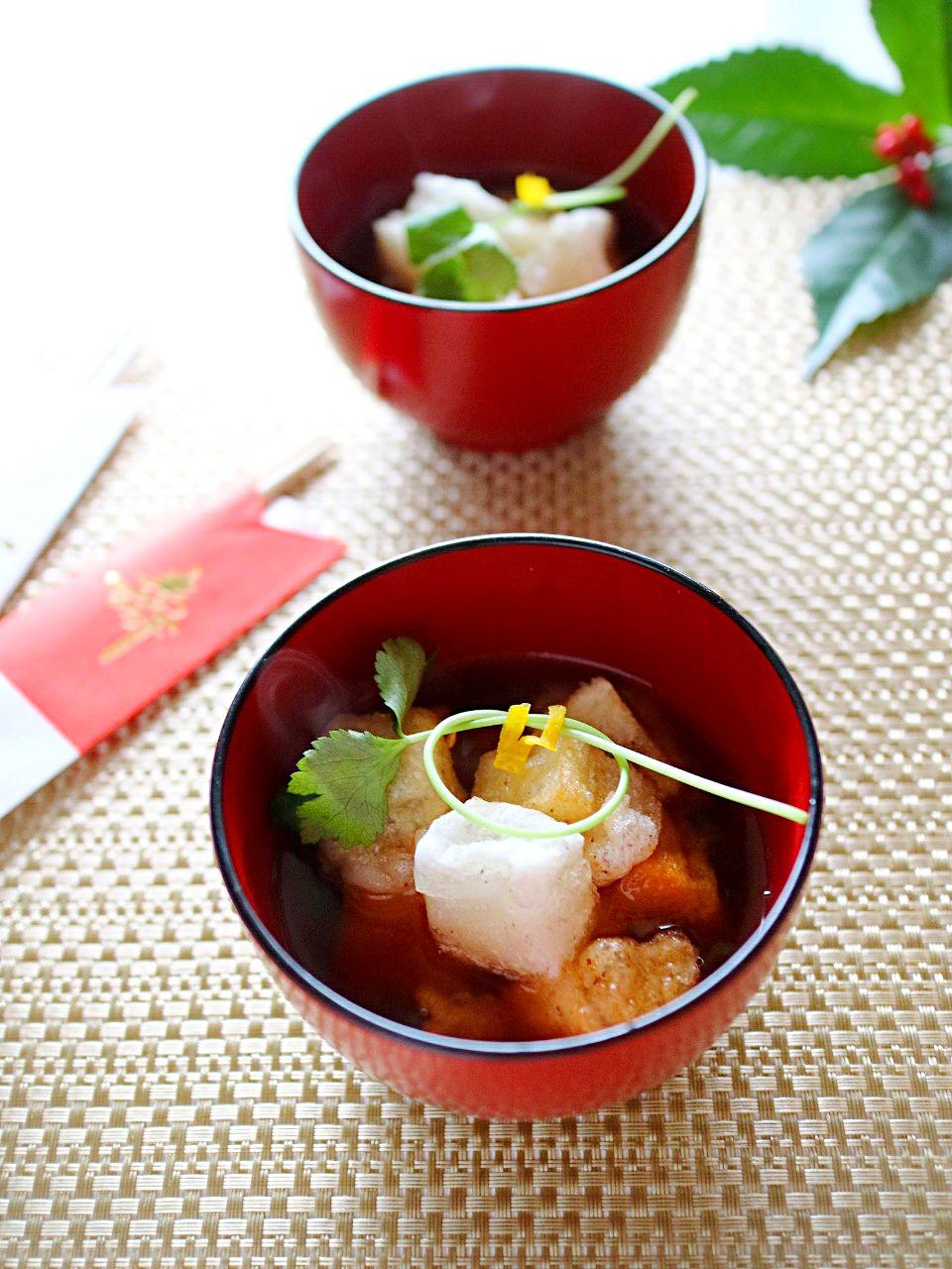 カリカリとろ〜り揚げ餅の味噌雑煮