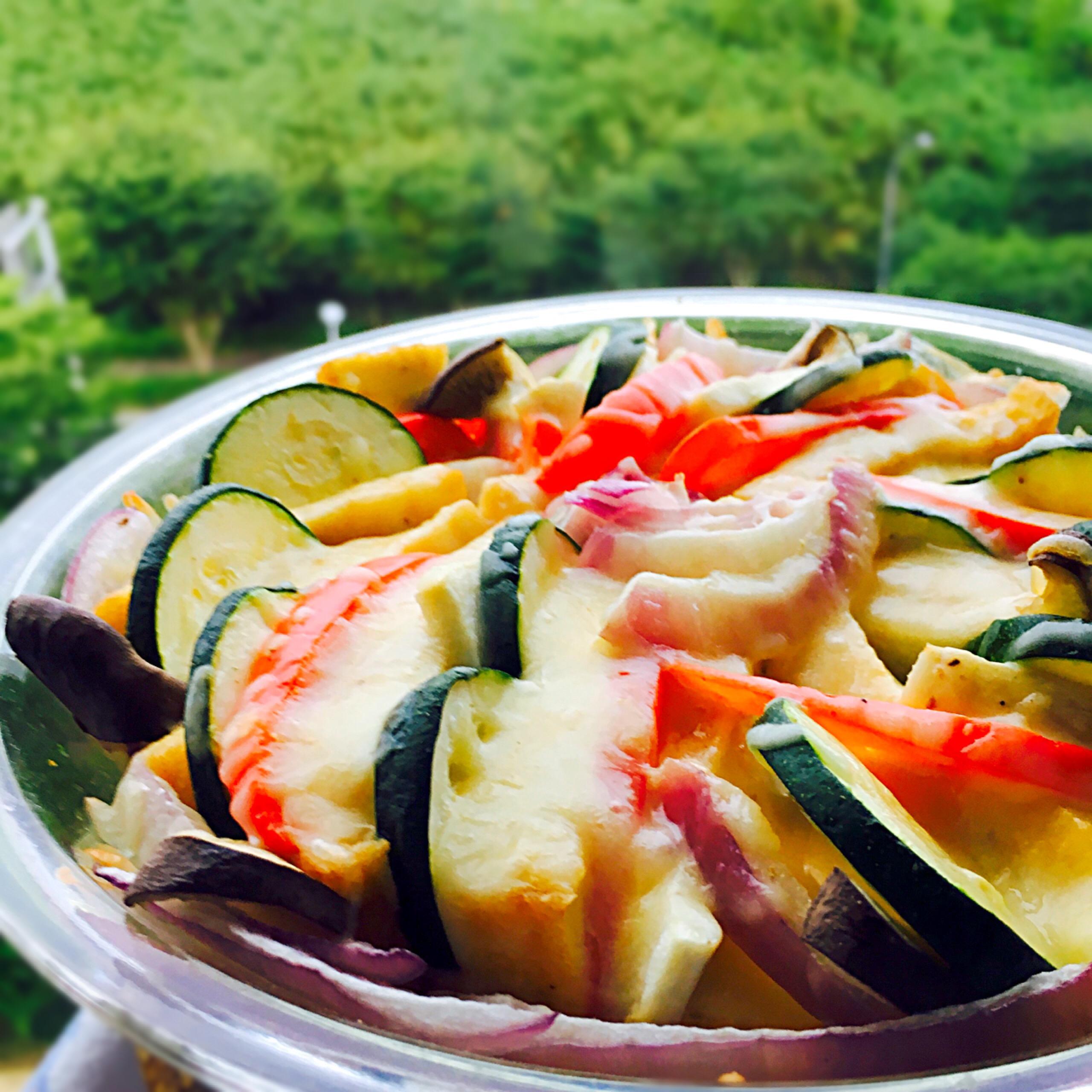 絹揚げと色どり野菜のチーズ焼き