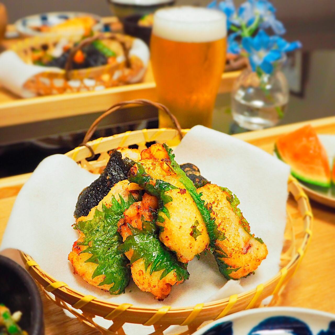 タコと大和芋の大葉はさみ揚げ、のりはさみ揚げ
