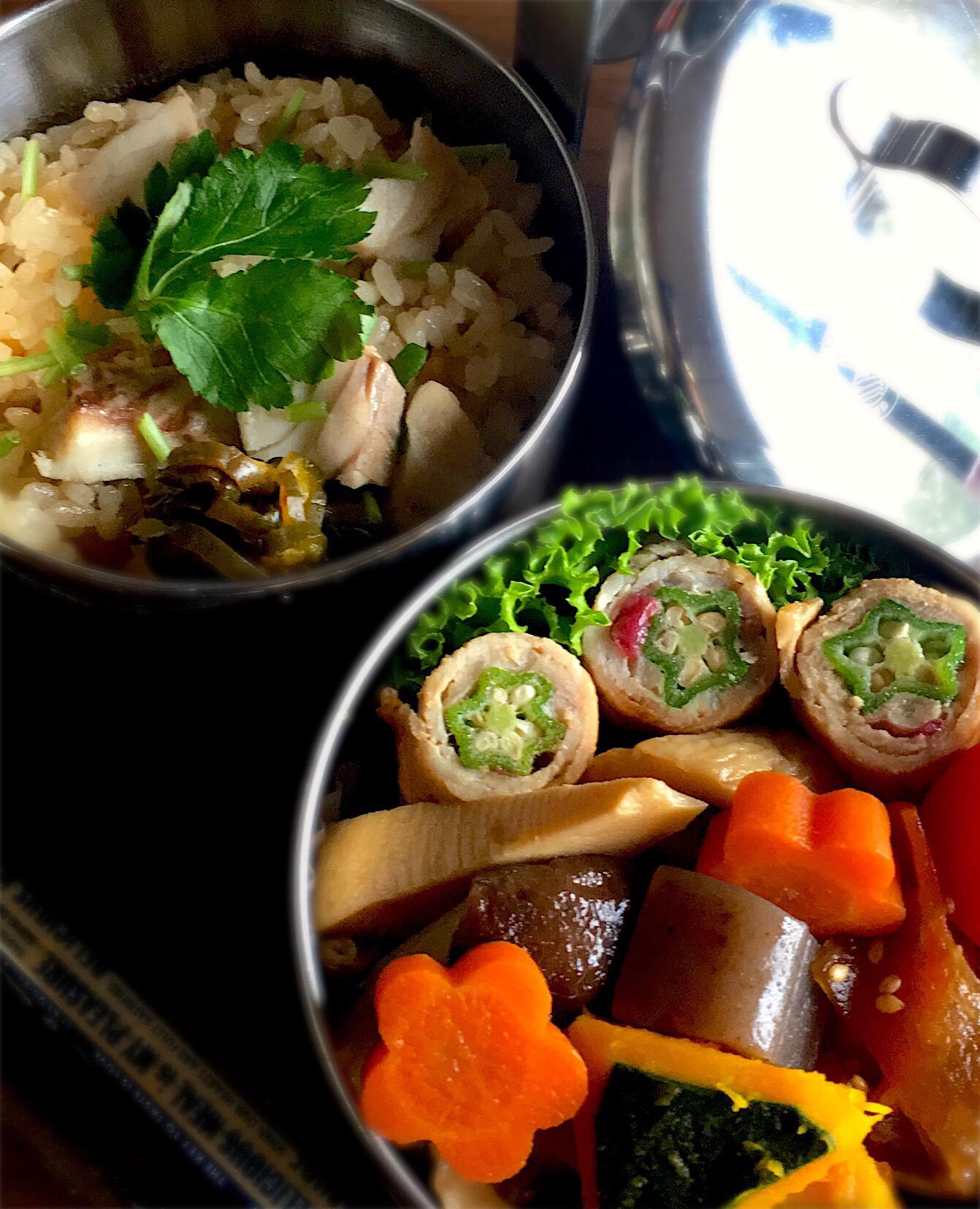 鯛めしと和食のヘルシーお弁当  #鯛めし#煮物#豚肉の梅肉とオクラ巻き焼き
