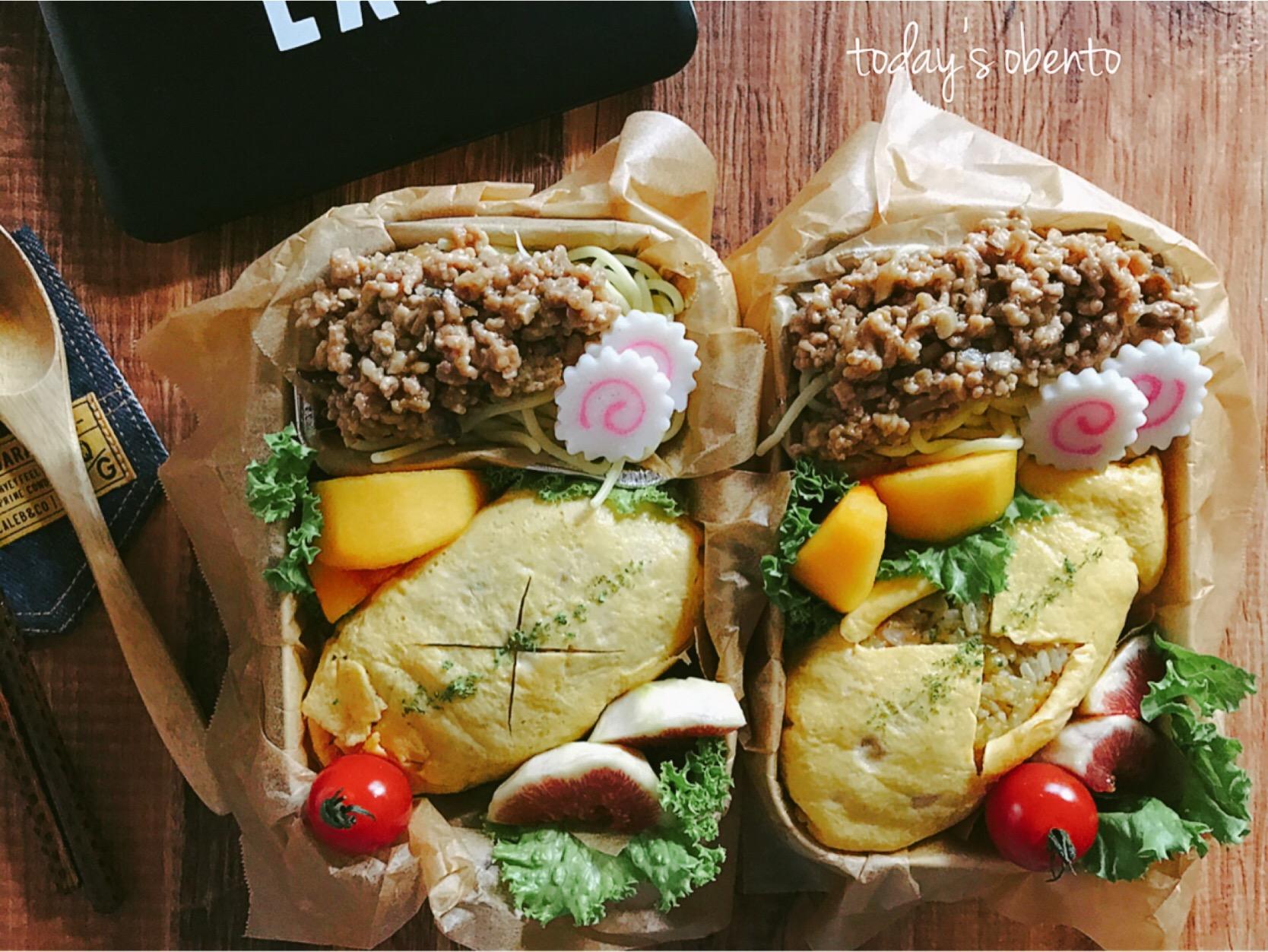オムカレーピラフとジャージャー麺弁当