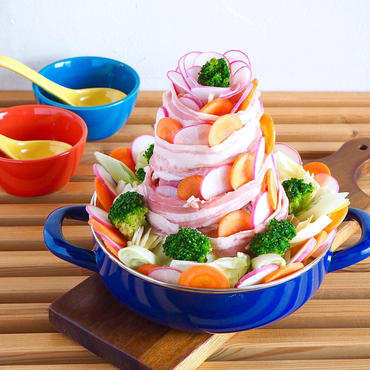 野菜の花咲く!肉鍋タワー