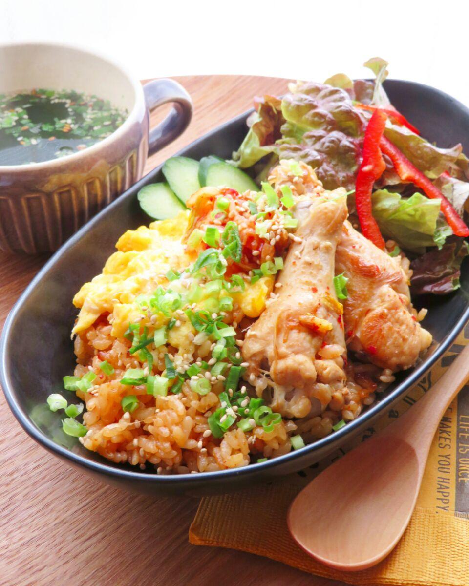 キムチと手羽元のピリ辛炊き込みご飯