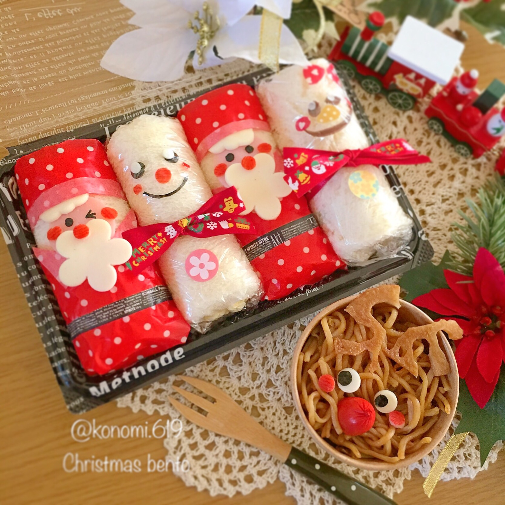 ロールサンドイッチとトナカイ焼きそばのクリスマス弁当♡