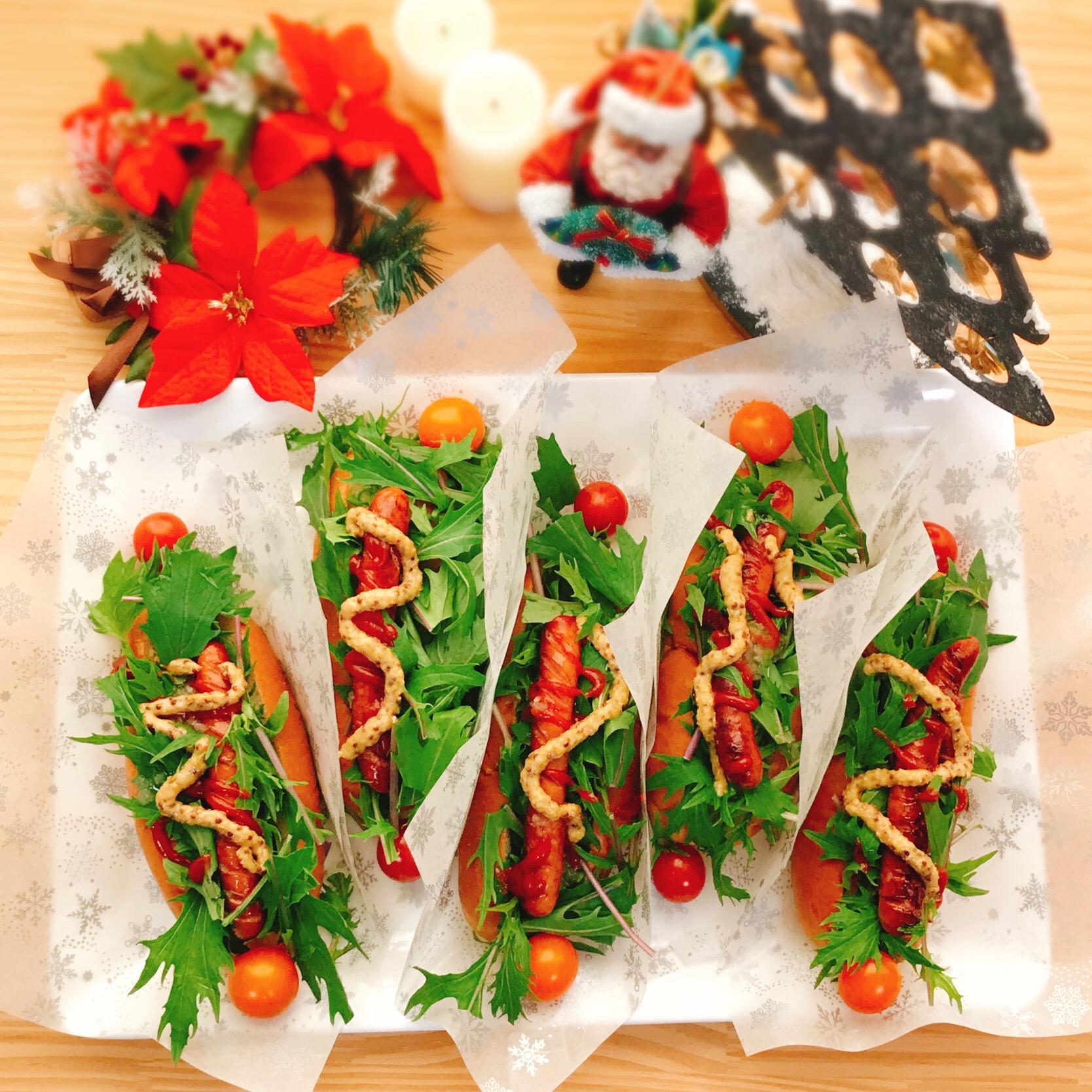 たっぷり水菜でクリスマスホットドッグ