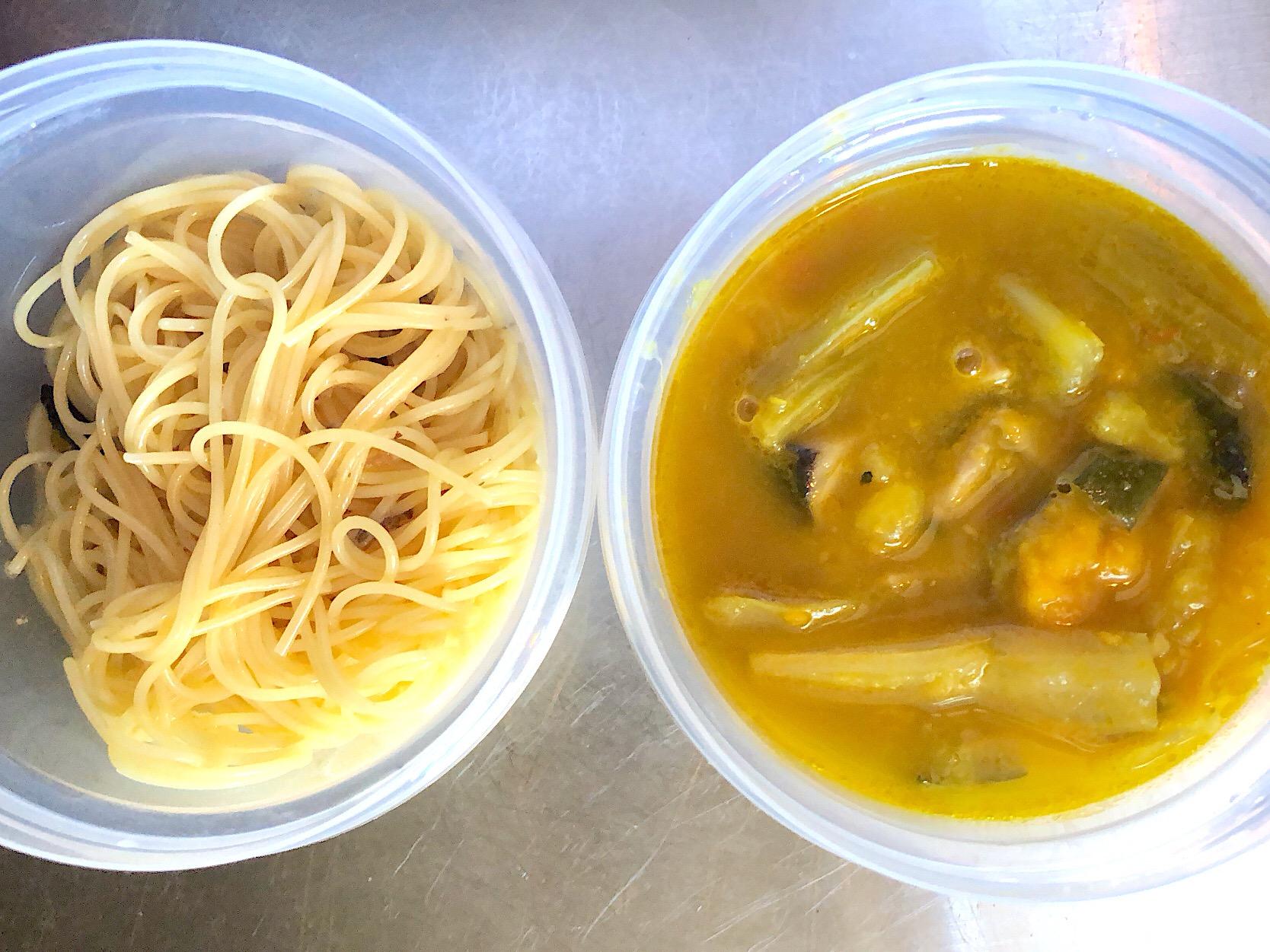 本日の弁当 つけパスタ 夏野菜の煮浸しとカッペリーニ