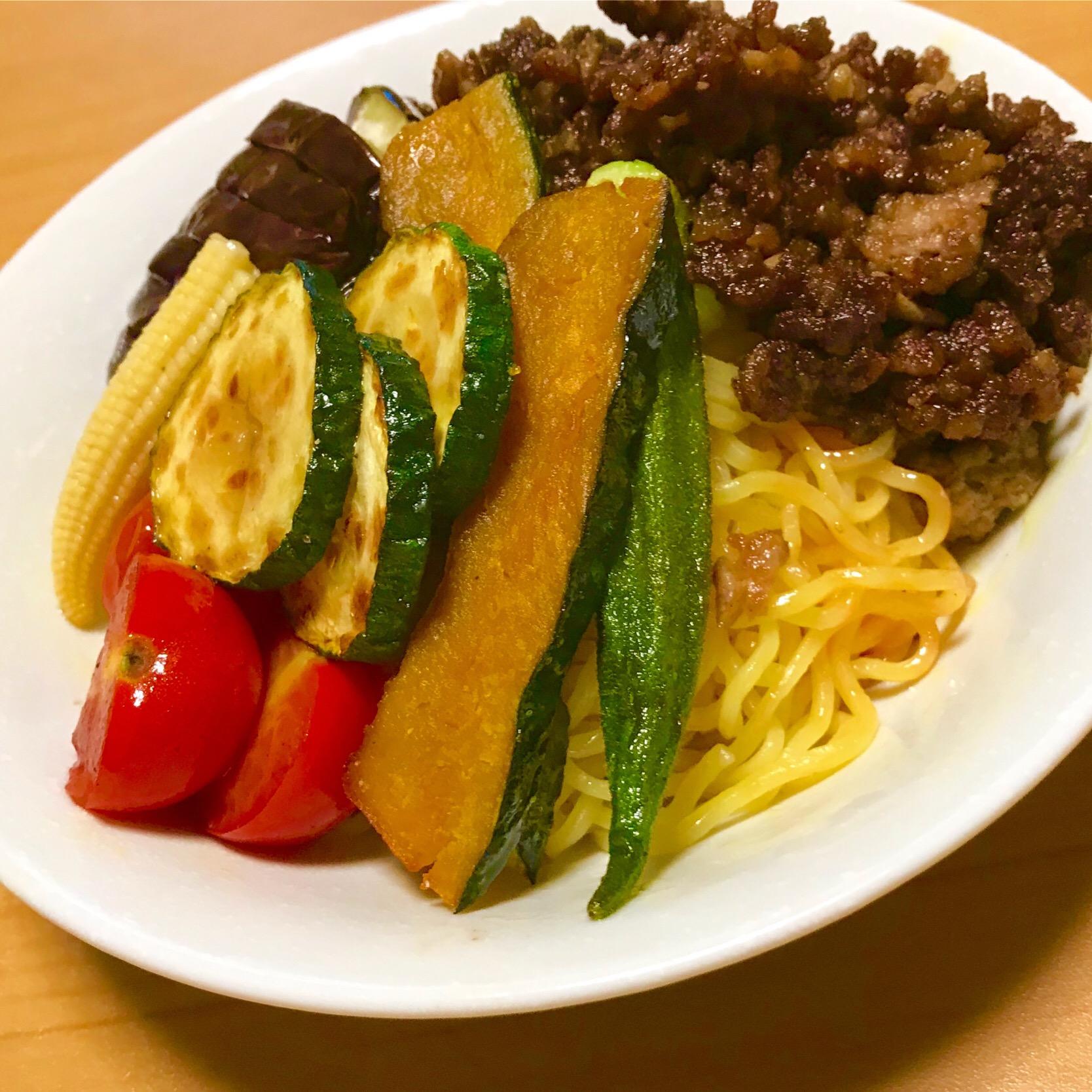 夏野菜のカレー風味夏麺  #ヤマサ #夏野菜 #カレー #ラーメン