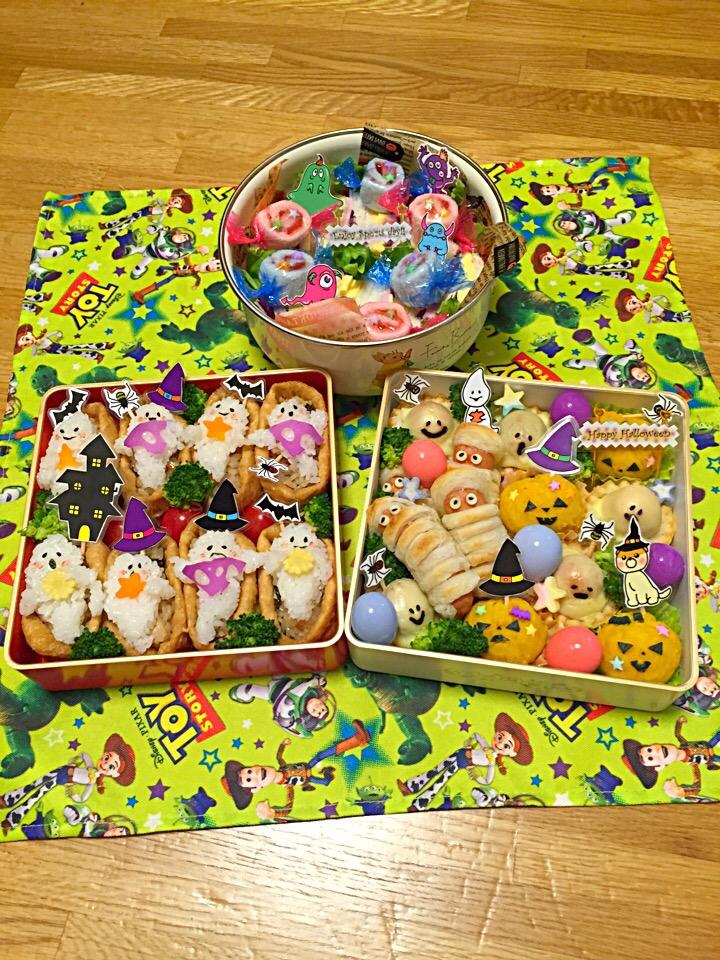 Bento with colorful tawara-musubi riceballs