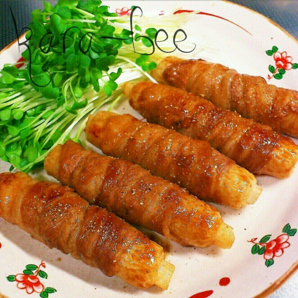 【節約レシピ】長いもinちくわの豚バラ巻き蒲焼き