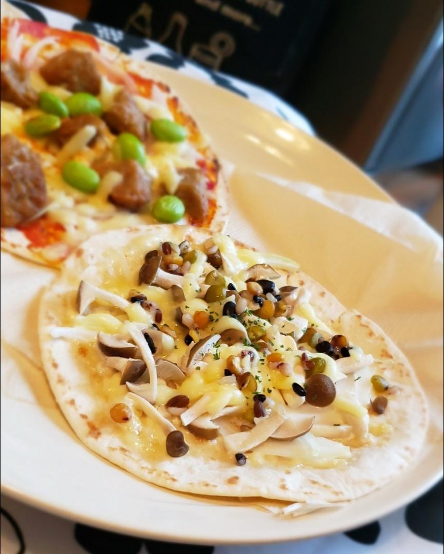 さわやか初秋味*ピザ風タコス*茸&豆と雑穀の塩レモンマヨ
