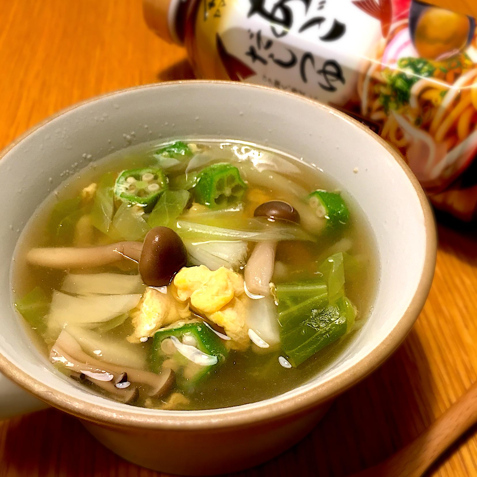 きのことオクラのかき玉スープ