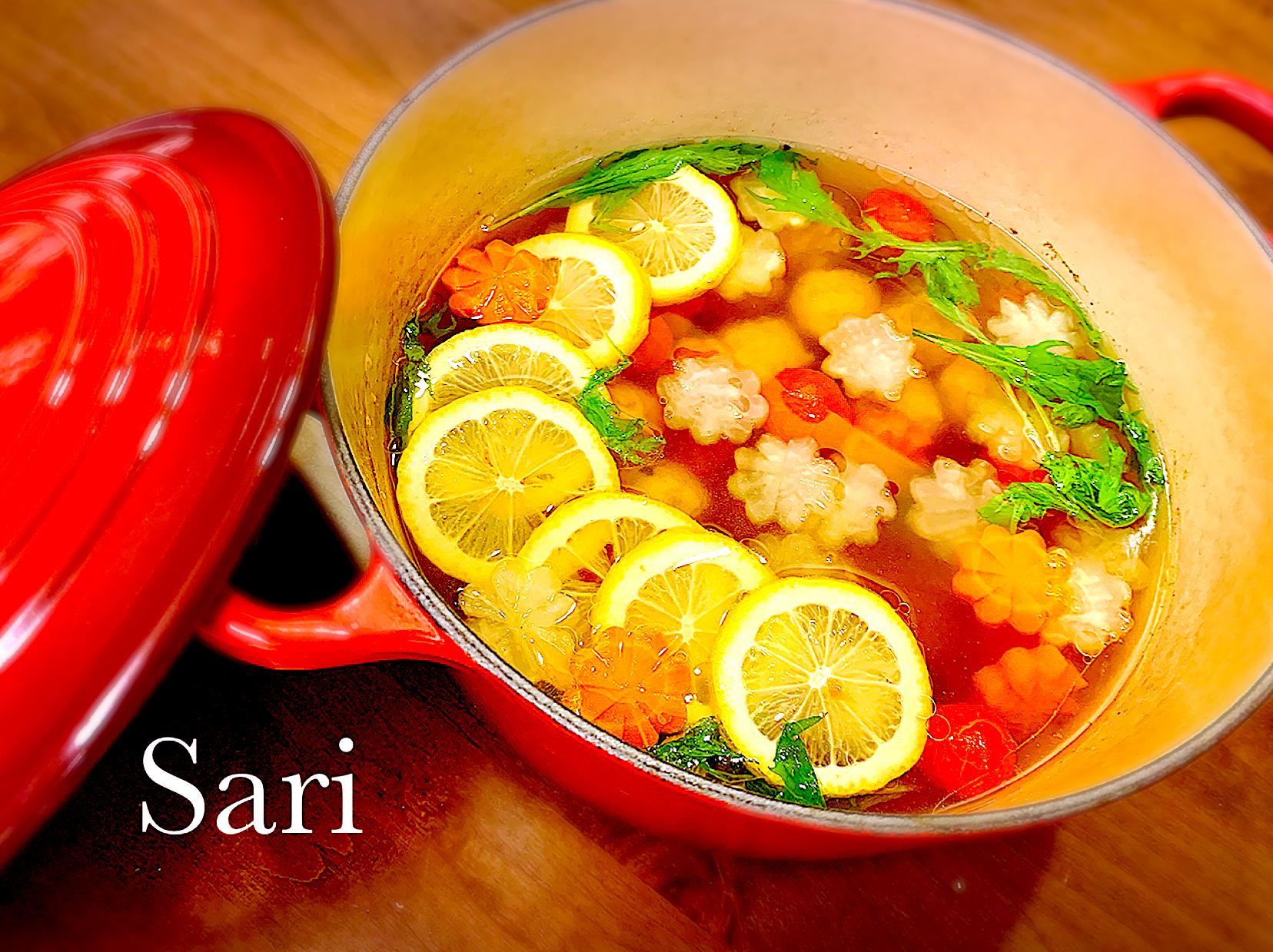 ヤマサ焼きあごだしで レモンジンジャースープ!