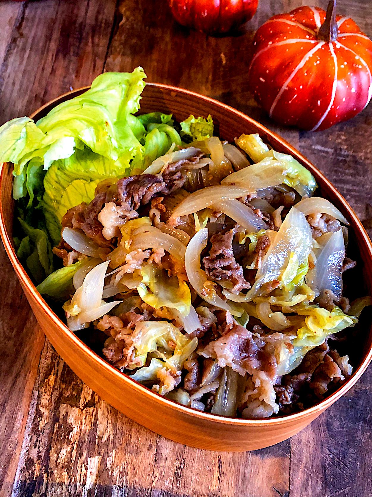 香ばし醤油のダブルネギの肉野菜炒め丼