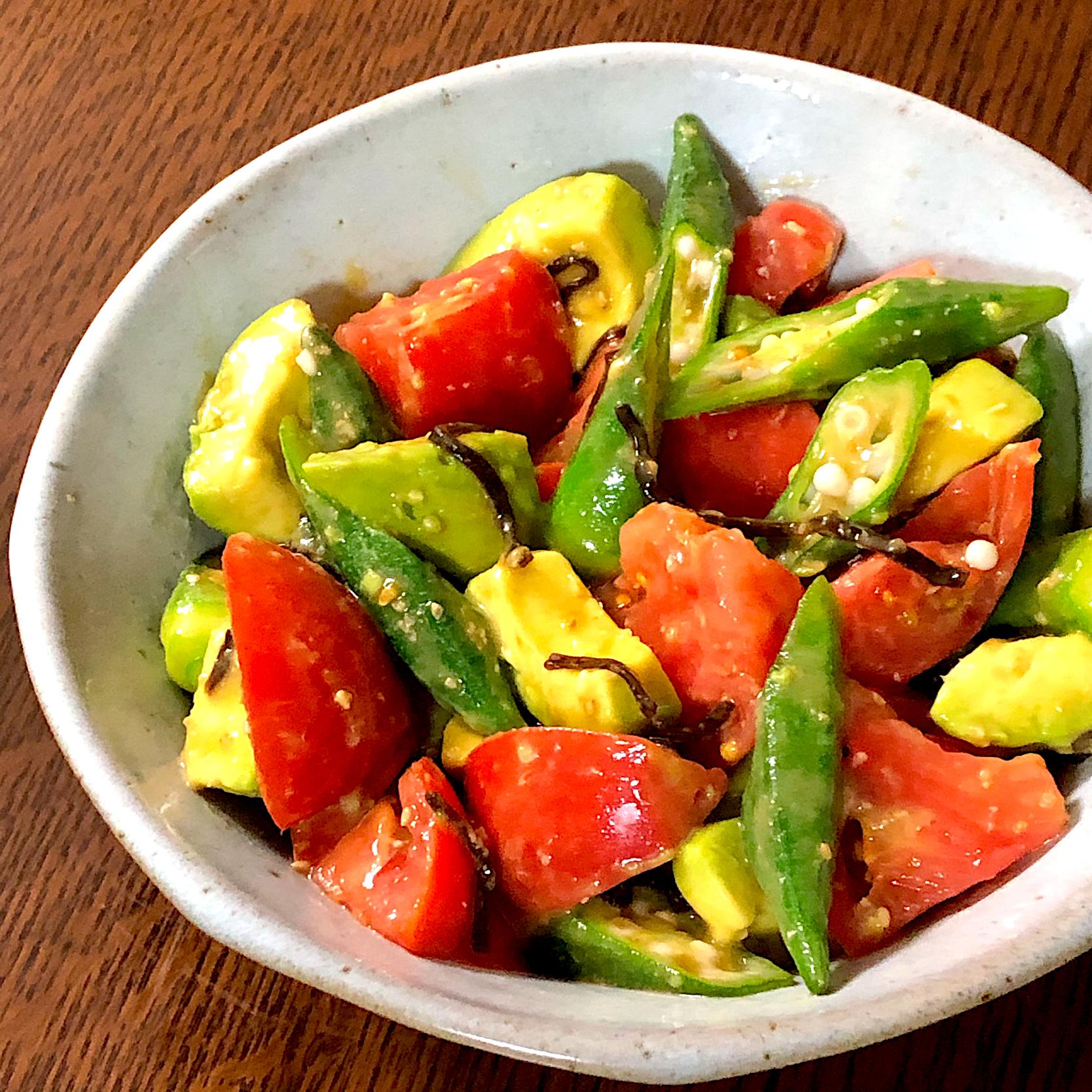 オクラトマトアボカドのささっと和風サラダ