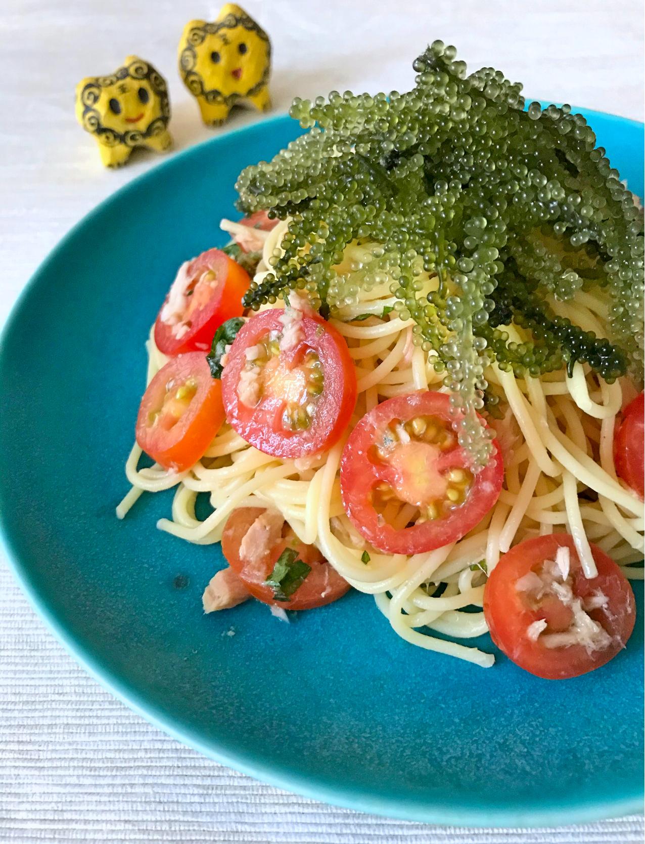 ミニトマトとツナの冷製パスタ沖縄ver.