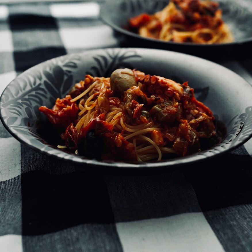蛸のラグーのスパゲティーニ