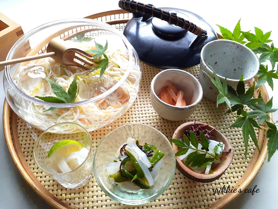 イカの塩辛🦑4種とお素麺ランチ(*¨*)♪