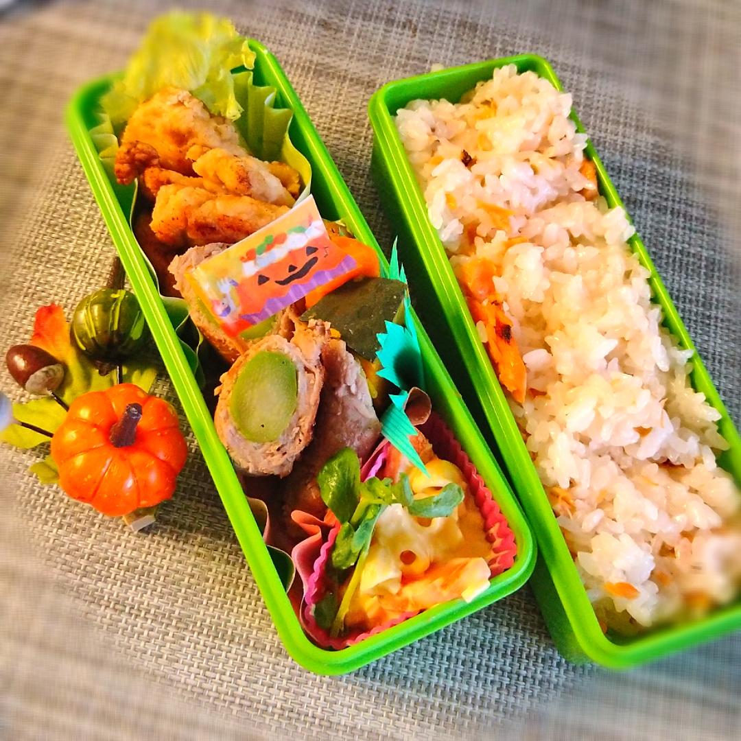 アスパラ肉巻きと鶏胸肉竜田焼きのお弁当