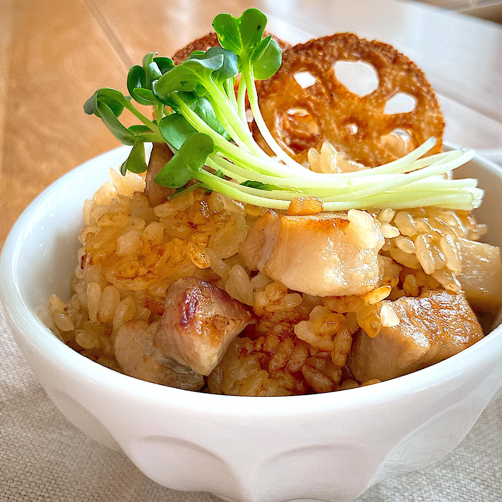 豚バラ蓮根の炊き込みご飯
